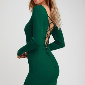 LULUS Kiss and Lace Up Dark Green Sweater Dress